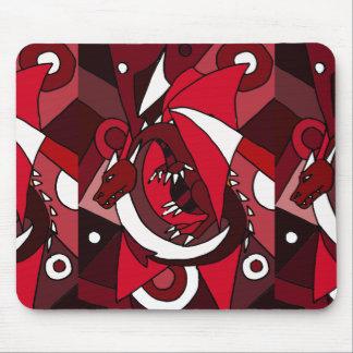 Arte vermelha e branca artística colorida do dragã mouse pad