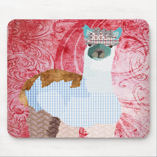 Arte vermelha retro Mousepad da alpaca