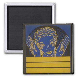 Artes amarelas e azuis ímã quadrado