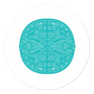 Artesanato do CINZA AZUL de Oriente dos ornamento Convite Quadrado 13.35 X 13.35cm