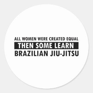 Artigos brasileiros do presente do jitsu do jiu adesivo redondo