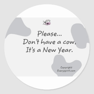 Artigos da vaca do ano novo adesivos em formato redondos