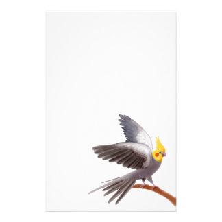 Artigos de papelaria cinzentos do Cockatiel