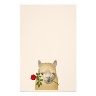 Artigos de papelaria cor-de-rosa da alpaca
