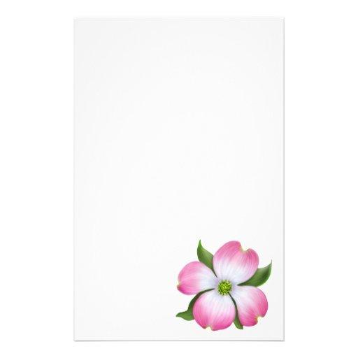 Artigos de papelaria cor-de-rosa da flor do Dogwoo