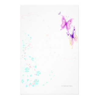 Artigos de papelaria cor-de-rosa das borboletas