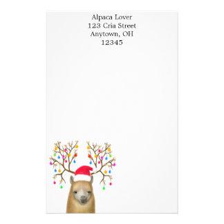 Artigos de papelaria da alpaca do Natal