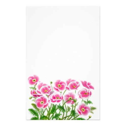 Artigos de papelaria das papoilas do rosa selvagem