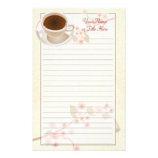 Artigos de papelaria do café da flor de cerejeira