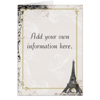 Artigos de papelaria do francês da torre Eiffel Cartões