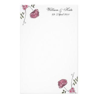 Artigos de papelaria florais personalizados do