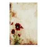 Artigos de papelaria florais vermelhos