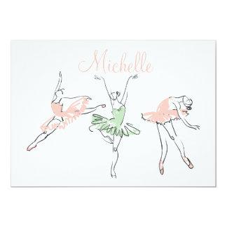 Artigos de papelaria personalizados da bailarina convite 12.7 x 17.78cm