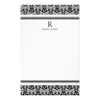 Artigos de papelaria pretos & brancos do monograma