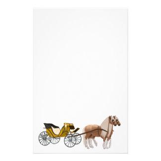 Artigos de papelaria puxados a cavalo da carruagem