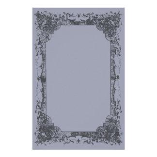Artigos de papelaria românticos azuis do Flourish