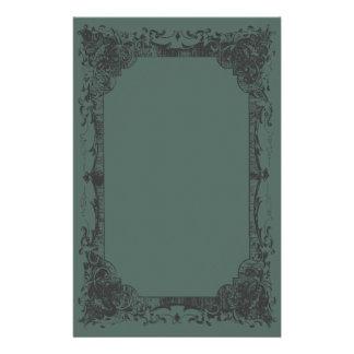Artigos de papelaria românticos verdes escuro do