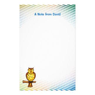 Artigos de papelaria sábios da coruja