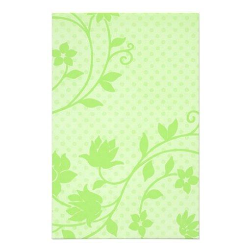 Artigos de papelaria verdes bonito florais e do po