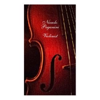 Artista de execução do virtuoso do violinista modelo cartoes de visita