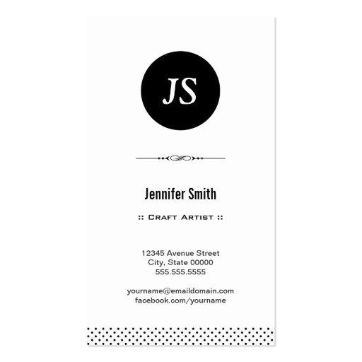Artista do artesanato - branco preto limpo modelo de cartões de visita