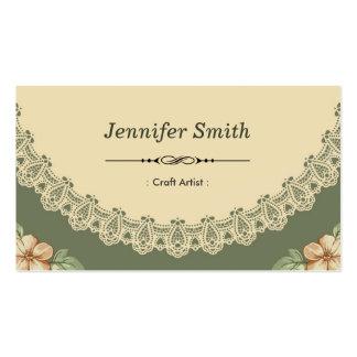 Artista do artesanato - chique do vintage floral cartão de visita