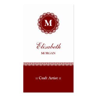 Artista do artesanato - monograma vermelho cartão de visita