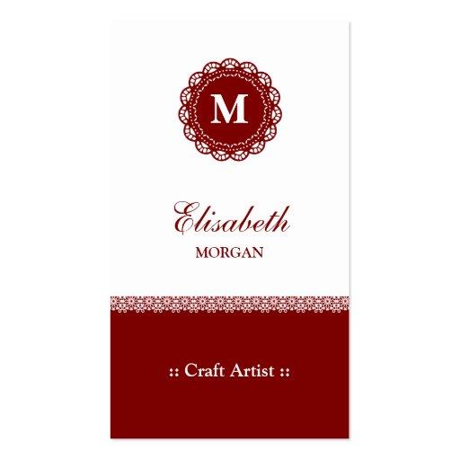 Artista do artesanato - monograma vermelho elegant cartoes de visita