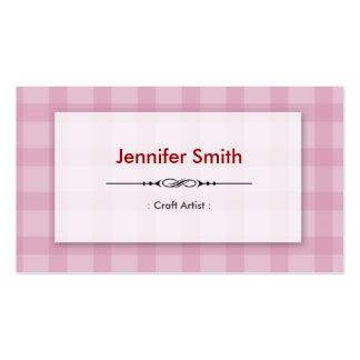 Artista do artesanato - quadrados cor-de-rosa cartão de visita