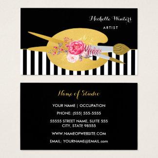 Artista floral das listras com a escova de pintura cartão de visitas