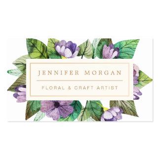 Artista floral pintado moderno do artesanato do cartão de visita
