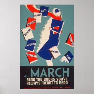 Arty Deco março que lê o poster vintage de WPA