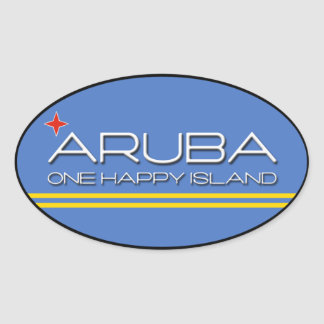 Aruba - uma ilha feliz adesivo oval