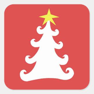 Árvore abstrata do White Christmas no vermelho Adesivo Quadrado