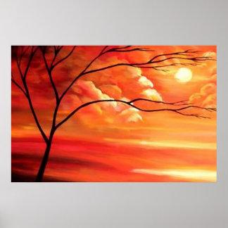 Árvore abstrata & por do sol - arte moderna poster