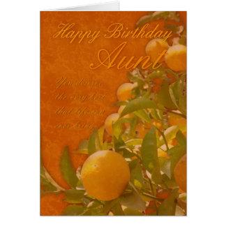 Árvore alaranjada espanhola da tia feliz cartão comemorativo