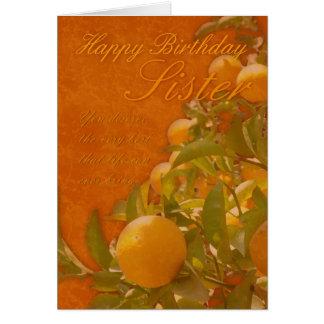 Árvore alaranjada espanhola de feliz aniversario cartão