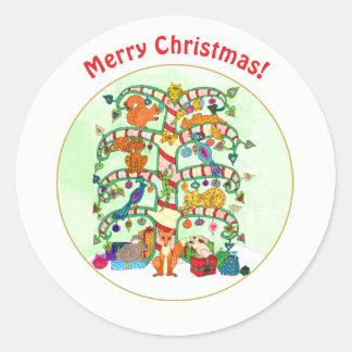 Árvore animal do feriado do Natal feito sob Adesivo Redondo