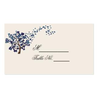 Árvore azul do coração no cartão do lugar do cartão de visita