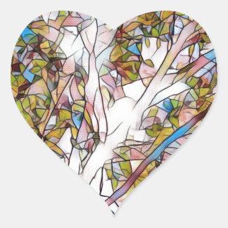 Árvore bonito do vitral Photomanipulatio da vida Adesivo Coração