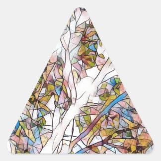 Árvore bonito do vitral Photomanipulatio da vida Adesivo Triangular