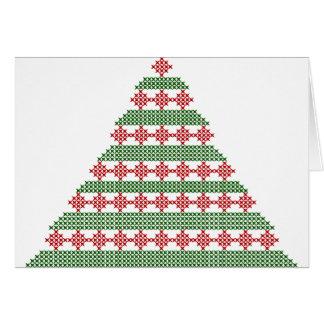 Árvore bordada cartão