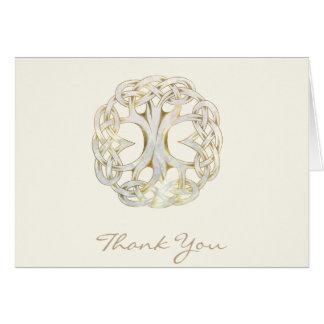 Árvore celta do obrigado do ouro da vida você cartão de nota