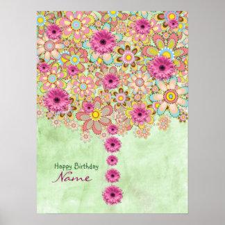 Árvore cor-de-rosa das flores da flor - pôster