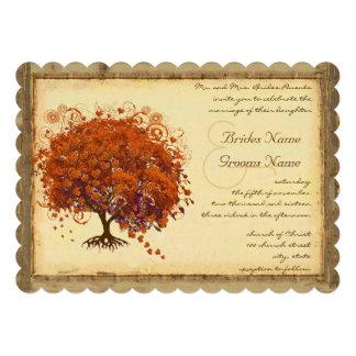 Árvore coral da folha do coração convite personalizados