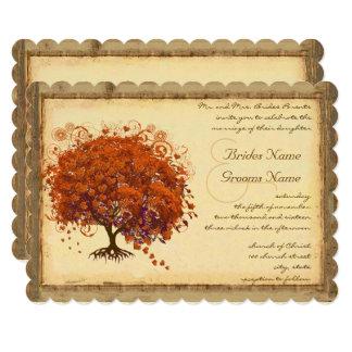 Árvore coral da folha do coração convite 12.7 x 17.78cm