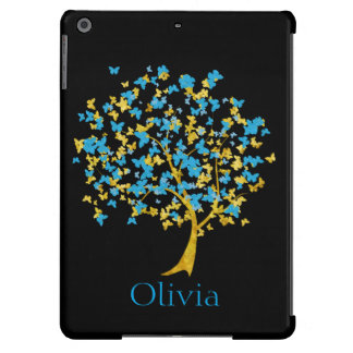 Árvore da borboleta do azul e do ouro capa para iPad air