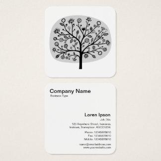 Árvore da flor - cinza cartão de visitas quadrado