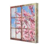 Árvore da flor de cerejeira da janela impressão de canvas esticada