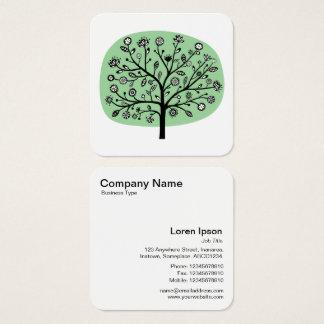 Árvore da flor - verde desvanecido cartão de visitas quadrado